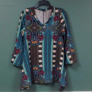 Multicolored tunic top